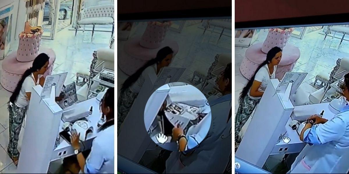 señora roba un celular en una peluquería de manera ágil