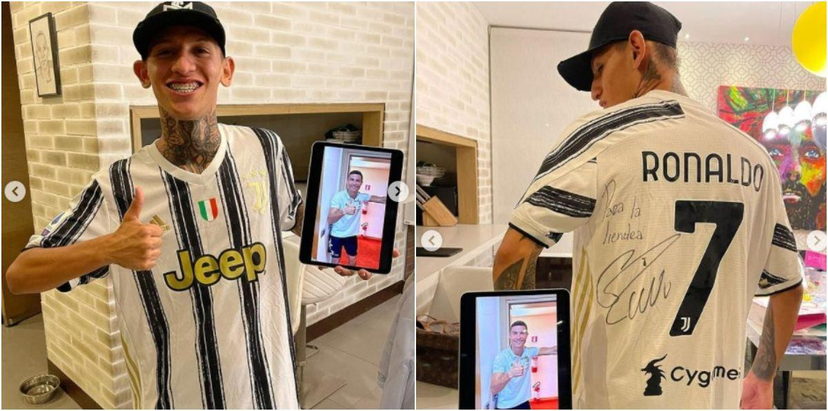 La Liendra recibió camiseta autografiada de Cristiano Ronaldo Juventus