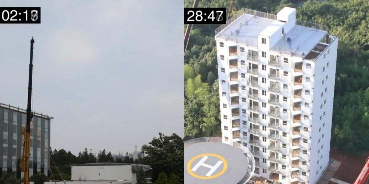 china construyen edificio 10 pisos en menos de 29 horas