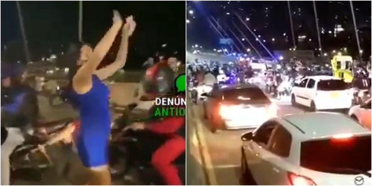 Video mujeres lanzan billetes puente 4 Sur de Medellín