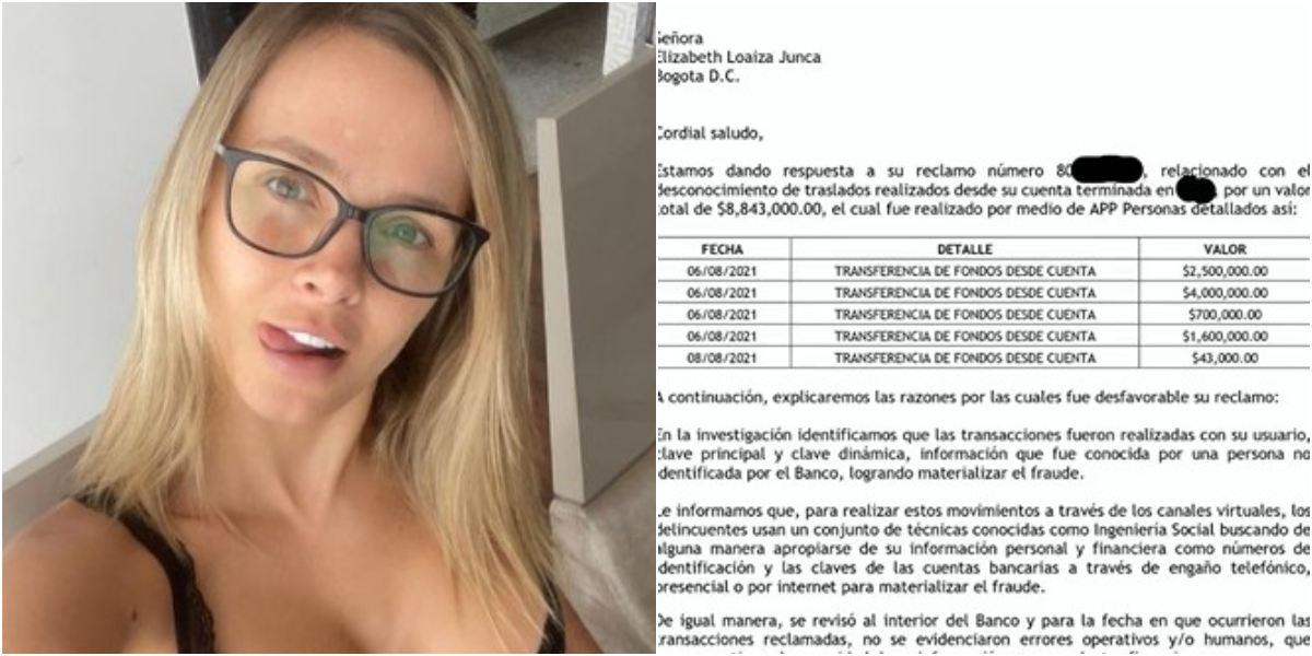 Elizabeth Loaiza denuncia robo cuentas ahorro Bancolombia
